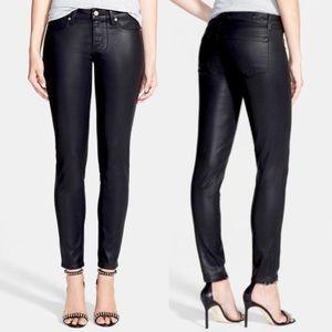 Paige Coated denim skinny black jeans zipper hems